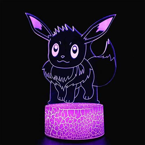 3D LED noche luz Pokemon Eevee 13 años de edad regalos para niñas 16 colores cambiantes lámpara de escritorio para niños Navidad cumpleaños regalos decoración del hogar