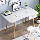 BANIROMAY Computer Desk with Drawer, White Mid Century Modern Desk, Simple Study Writing Table Workstation for Home Office School, Makeup Tables for Bedroom (39 x 19 x 30 Inch)