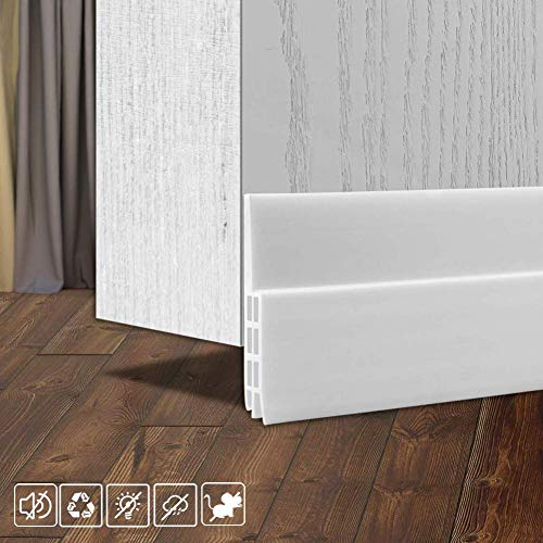 Under Door Draught Excluder Self Adhesive Draft Excluder Tape for Doors Soundproof Rubber Door Bottom Seal Strip 2' W x 39' L (White)