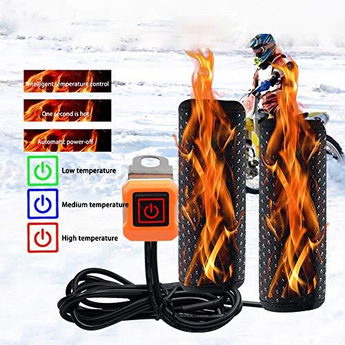gfyee Heizgriffe Motorrad Griffheizung Pad Pads, 12V Motorrad Heizgriff Beheizte Griffe Set Universal Motocross Lenker Beheizter Griff für Motorrad/Fahrrad/ATV - 3-Stufen