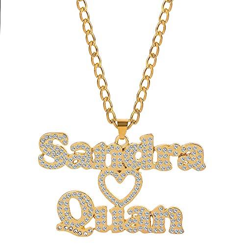 Collar con nombres dobles personalizados, collar con nombre de pareja de diamantes, collar con nombre de corazón, regalo para esposa, amiga y hermana, Acero inoxidable, desconocido,