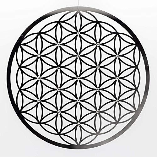 Blume des Lebens Wand-Deko ø 25 cm Edelstahl mit Kristallen | Wand-Schmuck Lebensblume Flower of Life Spirituelles Energie Symbol | Feng Shui...