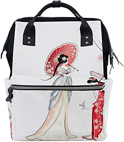College Bag Japanische Stil Pflege Windel Windeltasche Mumienrucksack Baby Print Wasserdicht Stilvoll Mama Papa Mumien Tasche Einkaufstaschen Größere Kapazität Muti-Funktion Reise