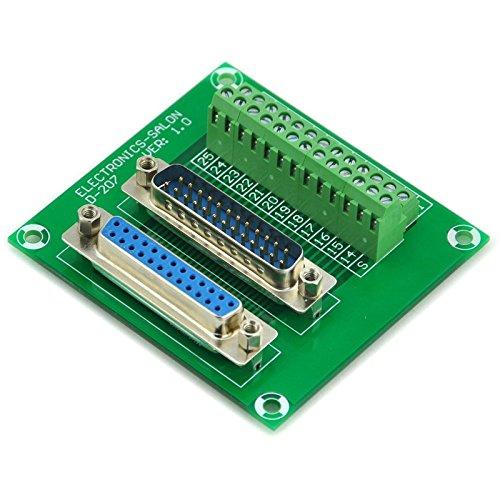 Electronics-Salon D-Sub DB25 männlich/weiblich Header Breakout Board, TERMINAL BLOCK, Stecker.