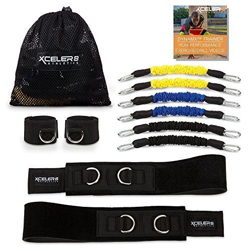 DYNAMX Trainer Speed and Agility Training Resistance Bands for All Sports | Includes Ankle Straps | Training Videos | Fast Sprinting, Explosive, Agile, Strength, Endurance