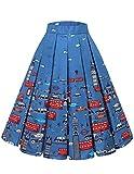 Bridesmay Falda Plisada Estampada Floral/a Lunares Vintage de Años para Mujeres City-Blue XS
