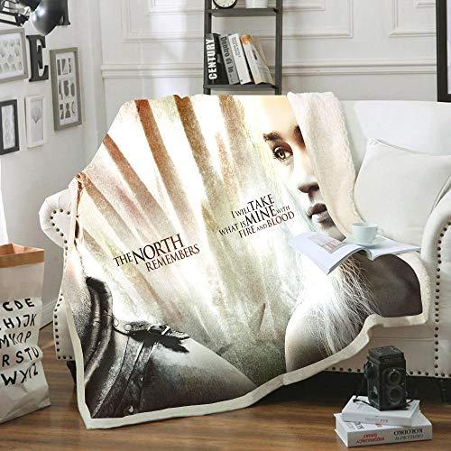 Manta de franela con diseño de Juego de Tronos, estampada 3D 100 % microfibra para parejas, niños y adultos, 130 x 150 cm