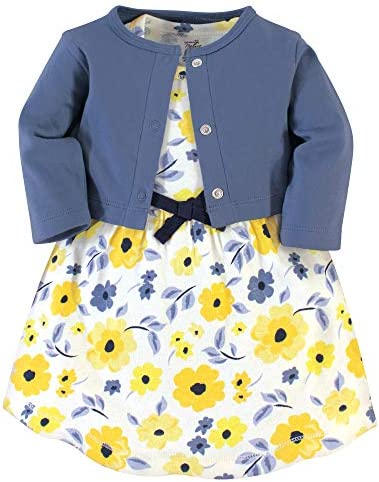 Touched by Nature Baby Girls Organic Cotton Dress and Cardigan Yellow Garden 3 Toddler product image