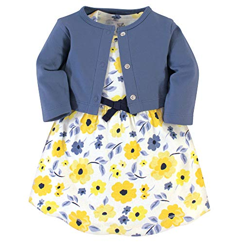 Touched by Nature Baby Girls Organic Cotton Dress and Cardigan, Yellow Garden, 3-Toddler