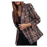 Summer Blazer for Women Plus Size Blazer for Women Long Blazer Plaid Check Suit Satin Jacket Formal Cardigan Pocket Blazer Set,Dress Jackets for Women Brown
