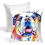 KIENGG English Bulldog Oil Painting Decorative Throw Pillow for Bed Couch Cushion Cover Square Pillowcases 18 X 18 Inches Double Side(Contain Pillow Core)