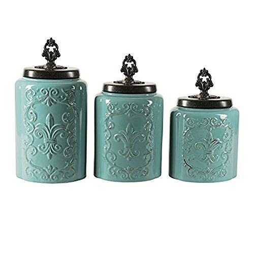 American Atelier 1182144-BL Blue Antique Set of 3 Canisters,60, 74.5, 84.5 oz