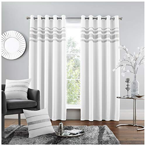 GAVENO CAVAILIA Luxury Quality Eyelet Kendal Blackout Curtain, Easy Care Ring Top Living Room Décor, 66x90Cm, White, 100% Polyester, 66x90