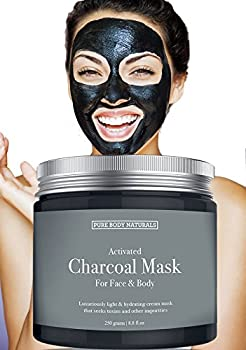 Pure Body Naturals Activated Charcoal Face Mask 8.8 ounces - Charcoal Mask for Blackheads Acne Oily Skin Hydrating and Exfoliating