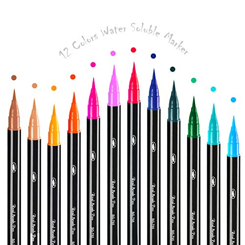 Brush Marker Pens 12 Colors, Watercolor Pens with Flexible Nylon Brush Tips, Real Brush Aquarelle for Writing, Soluble Color and Coloring