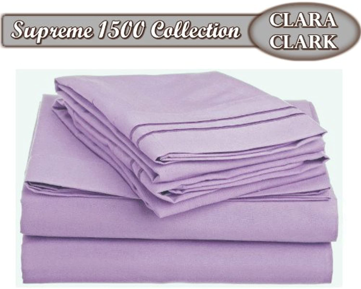 Clara Clark Supreme 1500 Collection 4pc Bed Sheet SetKing Size, Lavender