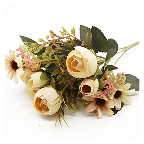 XIAOXUANMY Künstliche Blumen 1 Bunch 5 Gabeln 12 Köpfe Künstliche Blumen Günstige Vasen Home Dekoration Zubehör Hochzeit DIY Braut Freiraum für Foto Requisiten (Farbe : Champagne)