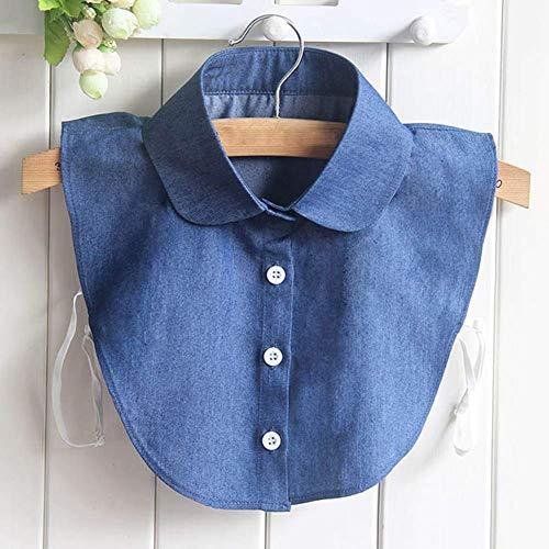 Huaheng nep kraag shirt jeans afneembare Valse kraag blouse voor vrouwen kleding tops 1