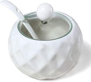 Sugar Bowl,Kitchenexus Ceramic Sugar Bowl with Lid and Spoon Vintage Glass Lid for Kitchen 8.8oz/250ml in White Rhombus