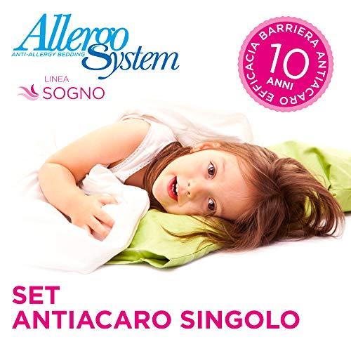 Allergosystem Set Antiacaro Sognocomposto da coprimaterasso con Cerniera per Letto Singolo e 1 copricuscino, Polyester, 80x190x20cm e 50x80cm