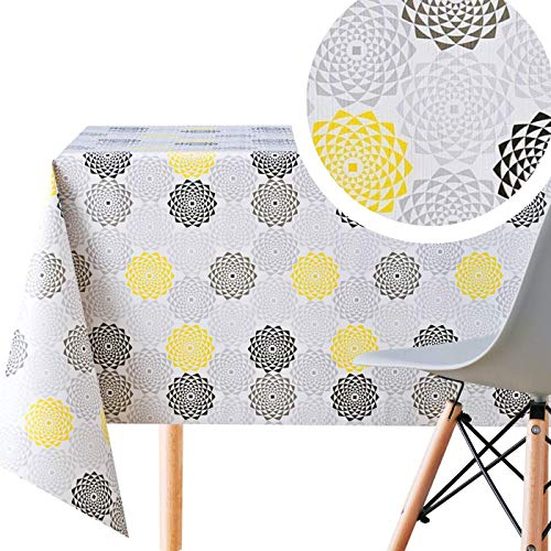 Wipe Clean Pattern Tablecloth - Floral Concentric Geometrical Circles - Rectangle200x140cm | 78x55in For Tables Up To 6 Seats - Heavy And Waterproof Oilcloth PVC Table Cloth In Grey | Yellow | Black