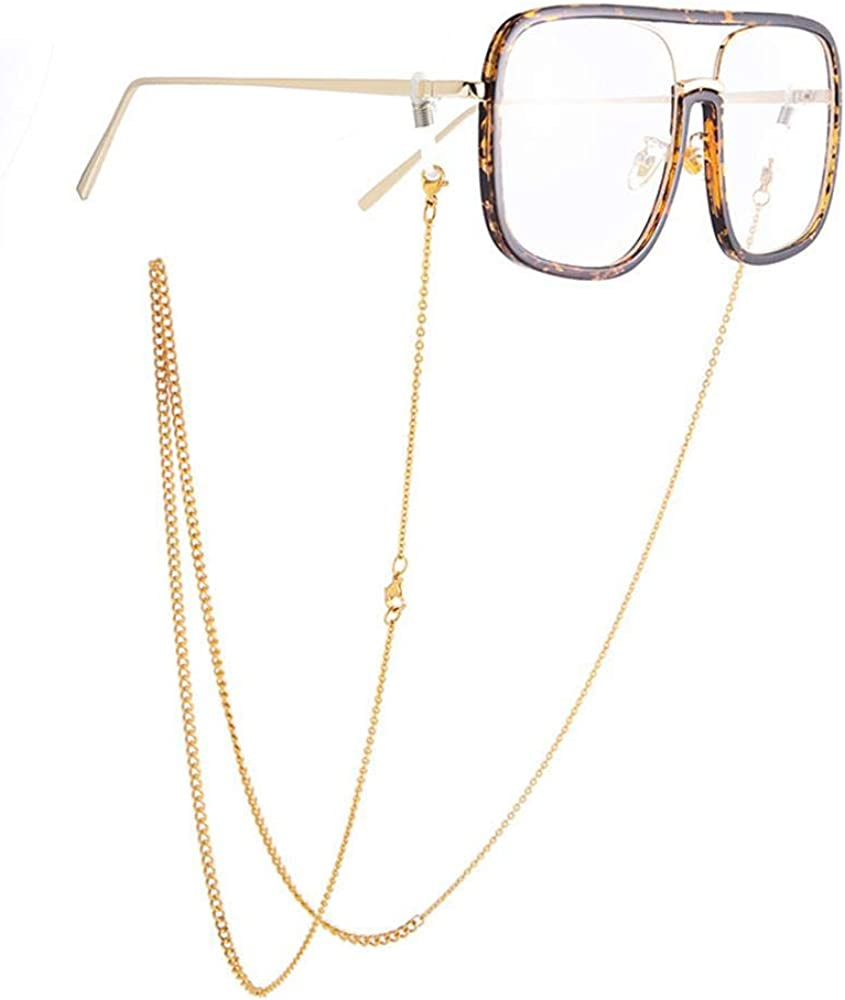 Mask Holder Chain Strap,Eyeglass Chains for Women for Men,Mix-chain Sunglasses Necklace Cord,Lengthen,Gold