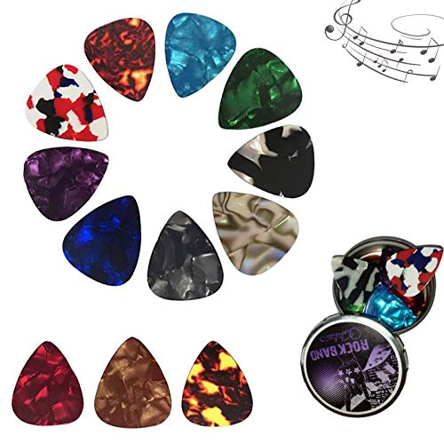 Plettri chitarra,Plettri in celluloide 12 pcs,Per Basso, Chitarre Elettriche e Acustiche 4 diversi spessori 0,46/0,71/0,96/1,20mm
