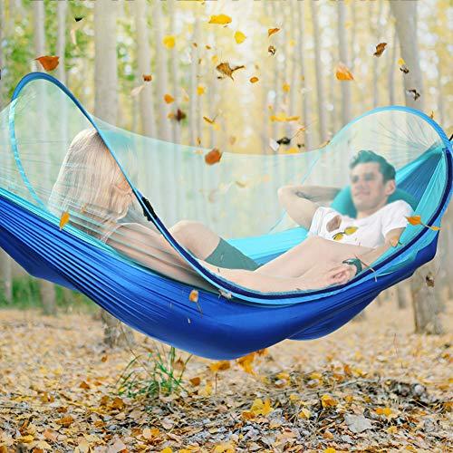 LNX Bleu Hamac avec moustiquaire - pour Camping Sac à Dos Voyage Randonnée Plage Jardin - Portable Ultra léger (260 * 150CM)