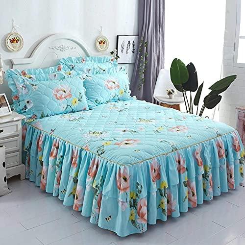 CYYyang Protector de colchón, algodón, poliéster, Hoja de Cama de Encaje de Falda de Cama engrosada-20_180 * 200cm