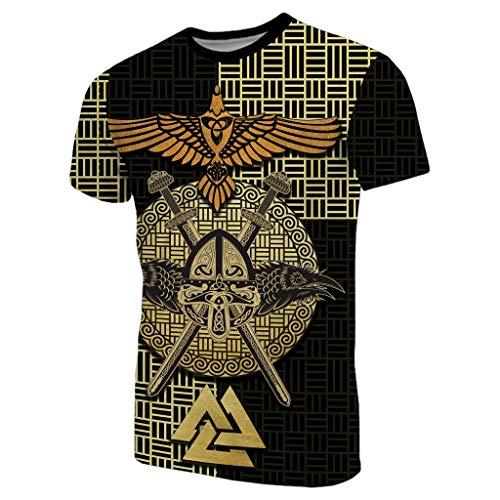 Fandao T-Shirt/Camiseta con Runa de Tatuaje de Cuervo de Viking Odin, Top de Manga Corta con Nudo Celta Nordic Valknut, Cuervo de la Mitología Nórdica Hugin Munin, Valhalla,3XL