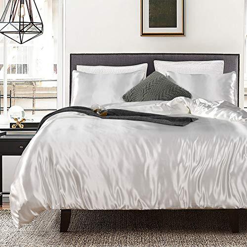 Bonhause Bedding Duvet Cover Set Double Size 3 Pcs White Silk Like Satin Ultra Soft 1 Duvet Cover and 2 Pillowcases