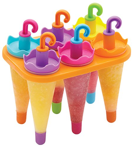 KitchenCraft Ice Lolly Mould with 6 Reusable Umbrella Style Sticks, Plastic, Multi Colour