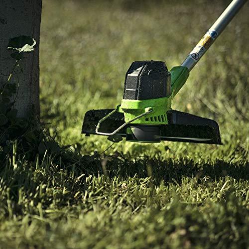 Greenworks Tools 2101507UA Decespugliatore a Batteria G40LTK2 (Li-Ion 40 V Larghezza 30 cm 7000 RPM Testa Motore Girevole Inclinabile Manico in Alluminio Flower, Verde, Nero, Grigio, 0