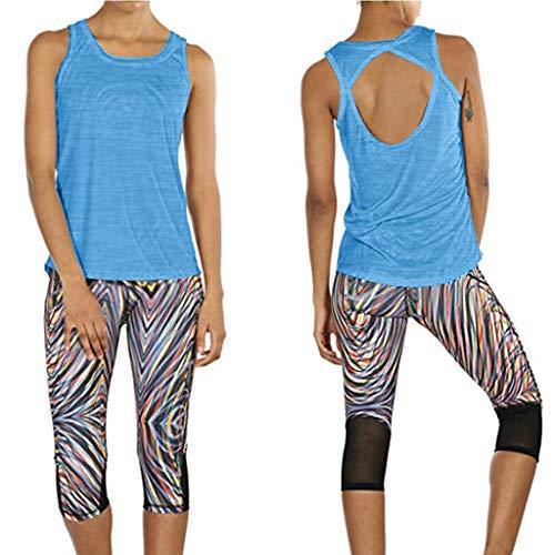 Akaide Damen-Oberteil für Yoga, Sportbekleidung, Workout, offener Rücken, Fitness-Oberteil, Sport-Kleidung, ärmellos Gr. M, blau