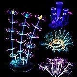 Cayway 4 Pz Acuario Plantas de Plástico Decoración del Acuario Coral Artificiales Brillo, Decoración de Medusa Adorno de Coral Plantas Acuáticas para Acuario de Pecera