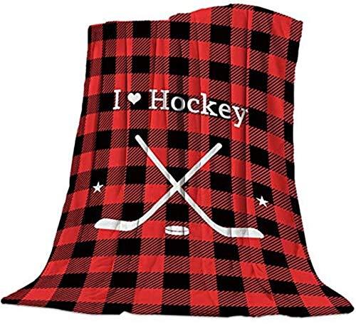 Manta de franela de forro polar cálida y reversible, manta para fotos, accesorios para dormitorio, sala de estar, sofá de 150 x 150 cm, diseño de rayas de hockey rojo y negro