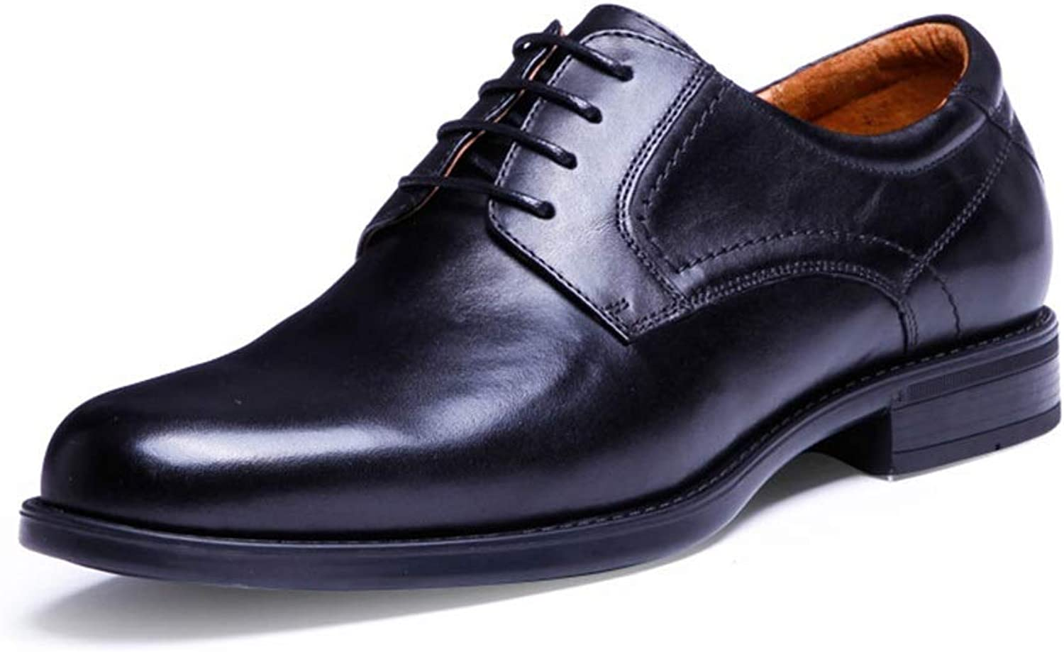 Men's Toe Layer Leather Wedding shoes with Breathable British Pointed Men's shoes Leather Men's shoes (color   Black, Size   41)