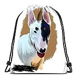 Kkyoxdiy Backpack Drawstring Bag Bull Terrier Puppy Wedge Head Portrait of English Breed Gentlemans Companion Domestic Pet Mammal