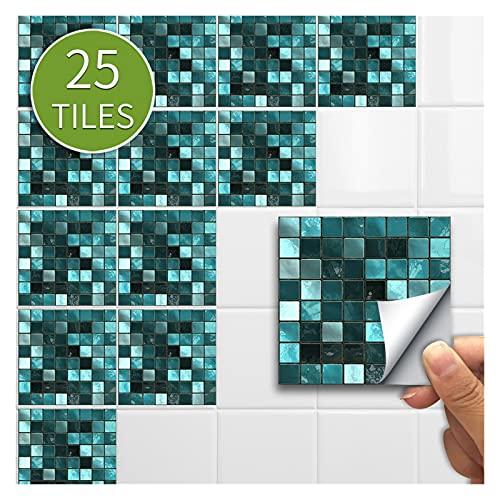 Vinilo Azulejo 10/15CMX25PCS Mosaico Pegatina para el hogar Etiqueta engomada de la pared Pegatina de piso Calcomanías de pared Etiqueta de azulejo impermeable para la cocina Baño Vinilos Ladrillo