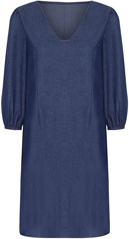 Tpingfe Women's Dresses Basic V Neck Dress Easy Simple Shift Dress Loose Dress Office Casual Long Sleeve T-Shirt Dress