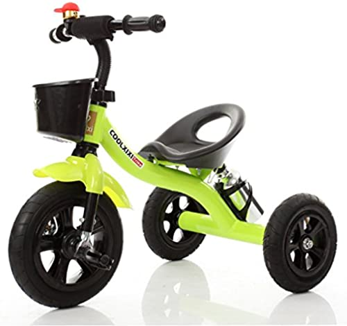 Kinder Dreirad Stahlrahmen Aufblasbares Rad Fahrrad 2-4 Jahre Alt Baby Spielzeugauto 71  48  58 Cm (Farbe   Grün)
