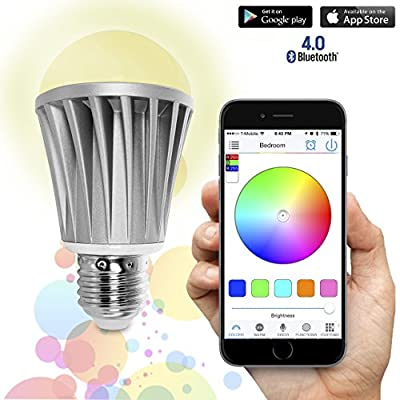 Flux Bluetooth Smart LED Light Bulb - Smartphone Controlled Dimmable Multicolored Color Changing Lights - Works with iPhone, iPad, Apple Watch, Android Phone and Tablet