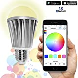 Flux Bluetooth Smart Light Bulb - Color Changing Light Bulb - Sunrise Wake Up Light - Dimmable LED Light Bulbs - App Controlled Wireless Sleeping Light - No Hub Required