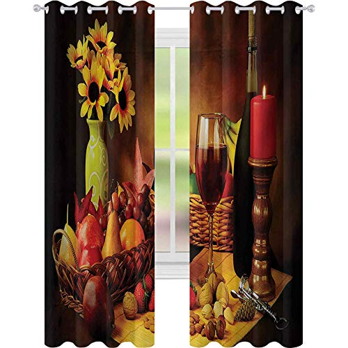 Blackout Curtains Bedroom, Still Life Image of Red Wine Flowers Fruits and Nuts with Candle Romantic Evening, W52 x L63 Blackout Curtain for Living Room, Multicolor