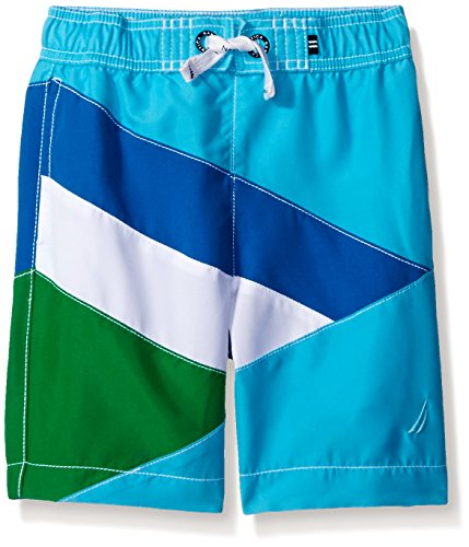 Nautica Little Boys' Swim Trunk with UPF 50+ Sun Protection, Turquoise Colorblock, Large (7)