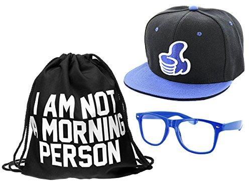 Kit ensemble de 3 accessoires noir bleu blanc : Sac , Casquette et lunettes (Outfit Set 3) pas cher convenables pour adultes et ados unisex fille garçon homme femme look Hip Hop cool sympa jeune