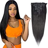Best Human Hair Extensions - Clip in Hair Extensions Straight #1B Natura Black Review