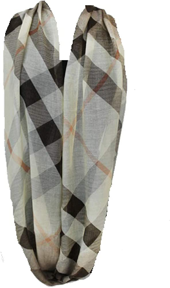 Fashion Secrets Women Checked and Plaid Pattern Super Softness Infinity Scarf (Beige)