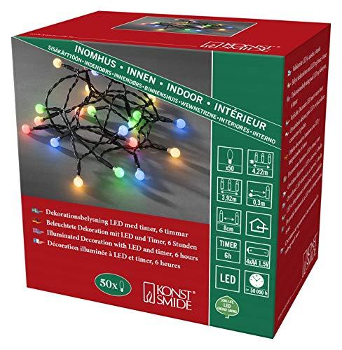 Preisvergleich Produktbild Konstsmide 1492-507 LED Globelichterkette mit runden Dioden / für Innen (IP20) / VDE geprüft / Batteriebetrieben: 4xAA 1.5V (exkl.) / 6h Timer / 50 bunte Dioden / schwarzes Kabel