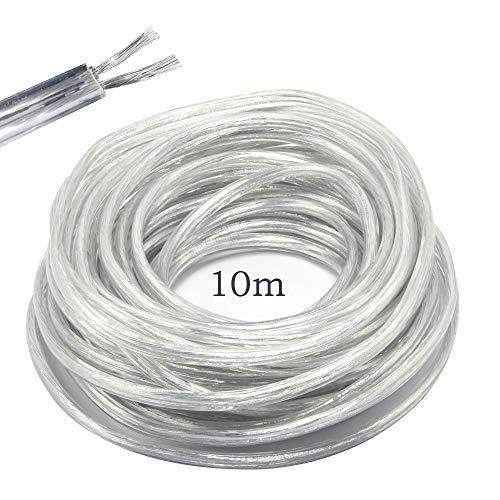 Stromkabel / Zweileiterkabel, flach, PVC-Netzkabel, Kupferdraht, hohe Temperaturbeständigkeit, 2 x 0,75 mm2 Stromkabel, Twin – 10 m Schnittlänge, flexibles Teichkabel, Transparent